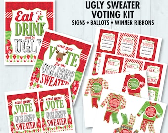 Ugly Sweater Party Voting Ballots - Award Ribbons - Christmas Office Party, Hostess Gift - Instant Download PDF Printable Kit