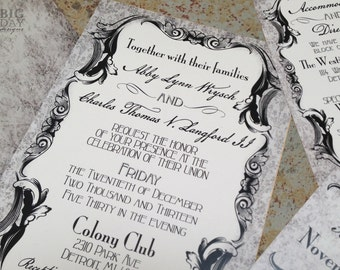 Gothic Victorian Wedding Invitation Set. Antique scrolls wedding invitations. Elegant goth wedding invitations.