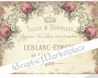 Sewing Shabby Chic Label French Tulle Lace Dentelles Digital Transfer Download Burlap Iron on fabric digital graphic printable No. 633