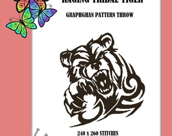 Raging Tiger - Graphghan Throw Pattern