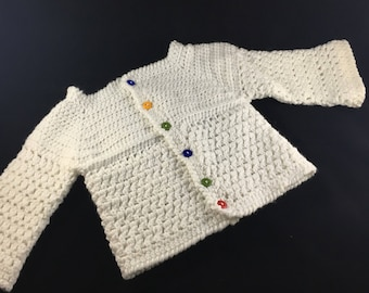 Crocheted White Baby Girl Sweater, Size 6-12 mo, Ready to Ship