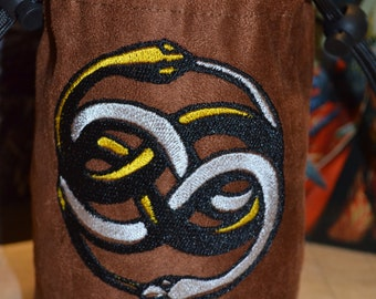 Dice Bag custom Embroidery Suede light brown Never ending Story