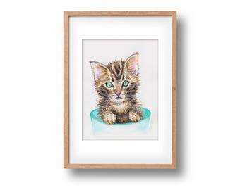 "Original watercolor painting ""Innocent Kitten""-handpainted-unique work of art-cute kitty-optional framed"