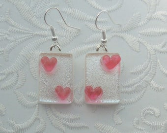 Pink Heart Earrings, Dichroic Fused Glass Earrings, Heart Earrings, Valentine Earrings, Fused Glass, Valentine Gift, Gift For Her X2587