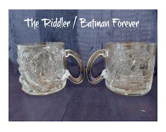 The Riddler Mugs  -McDonald Mugs - Batman Forever Mugs - Glass Mugs - Promotional mugs -McDonald collectible -Batman mug - set of 2 # 73