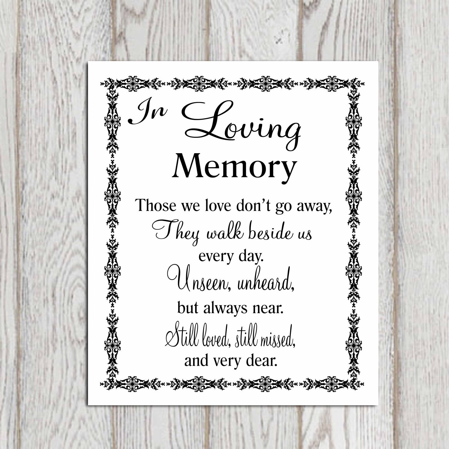 Love Quote Signs In Loving Memory Printable Memorial Table Wedding Memorial