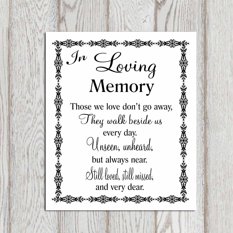 In Loving Memory Quotes In Loving Memory Printable Memorial Table Wedding Memorial
