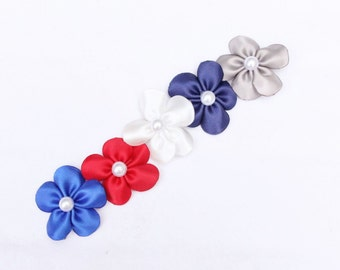 Nautical Collection - Set of 5 Mini Flower Hair Clips - Red White Blue Patriotic Hair Flowers