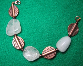 Quartz Bracelet, Copper Quartz Bracelet,  Leaf and Nugget Copper Bracelet