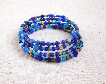 Quadruple Wrap Blue Boho Memory Wire Coil Bracelet (Item O 92)