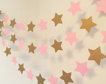 Twinkle Twinkle Little Star Birthday Decor - Pink and Gold Baby shower Decorations - Graduation Decor - Birthday Decorations- Custom colors