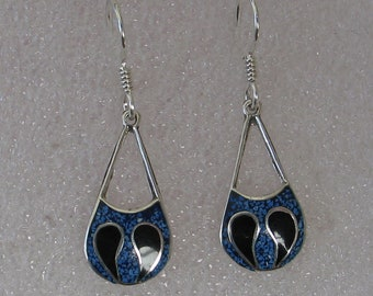 "Vintage Lapis Onyx Inlay Sterling Tear Drop Hoop Earrings 1 3/8""Long"