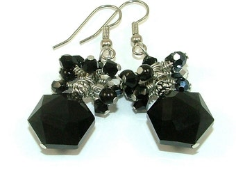 MAJOR MARKDOWN - Elegant Jet Black Wire Wrapped Crystal Cluster Statement Earrings