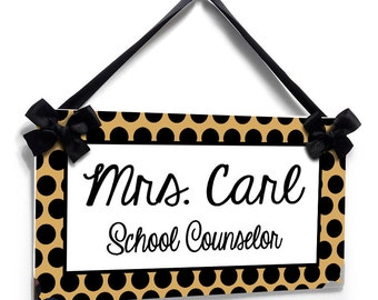 """personalized graduation gift school counselor classroom door sign - """"gold"""" and black polka dots - simple and elegant - P617"""