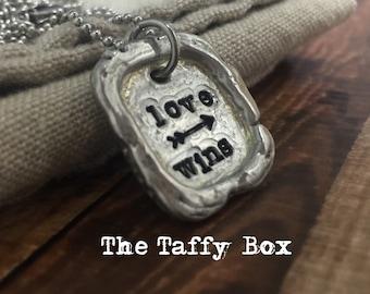 Love Wins Handstamped Pewter Unisex Necklace