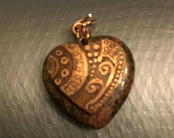 Jasper pendant with etched copper charm #75 (Doodle Rock)