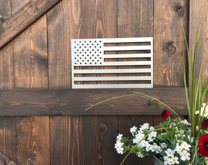 Rustic Metal American Flag MEDIUM, Rustic Flag Sign, Flag Decor, Farmhouse decor, Fixer Upper style, Porch Flag, Home Wall decor, Metal Flag