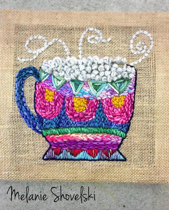 Coffee Love Coffee Cup Kaffee Boho Hippie Original Embroidery Original Fiber Art Folk Art