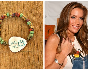 Guitar Pick Bracelet Music Heals festival ready fashion saying quote rocker musician As Seen at GBK's MTV Movie Awards Celeb Gift Lounge