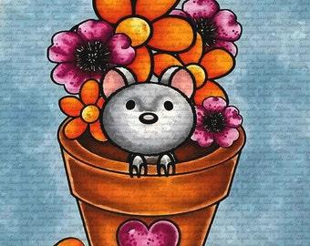 Vase Mouse Digital Stamp by Sasayaki Glitter