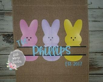 Easter Bunny Peeps Burlap Garden Flag