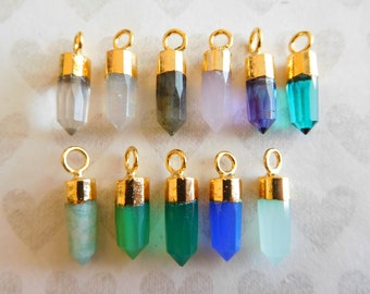 Gemstone Spike Pendant Charm Points Needle , 13-15x5 mm, Sterling Silver or 24k Gold Vermeil, gcp20 gc ll