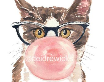 Cat Watercolor PRINT - Watercolour Painting, Bubble Gum, Cat Eye Glasses, Funny Watercolor, Cat Lover Gift