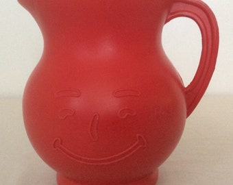 Kool-Aid Vintage Smiling Face Plastic Pitcher Red Mid Century