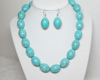 Necklace Earrings Jewelry Gift Set Turquoise Beaded Womens Jewelry