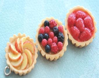 fruit tart necklace- miniature food jewelry, berries tart, peach tart necklace