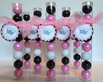 Princess Ball, Princess Crown, Gumball Tube Party Favors, Set of 12, Pink, Black and White with Personalization