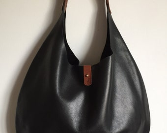 Large black and tan leather hobo bag, leather summer tote, black leather tote bag, black leather shopper bag, black leather hobo bag