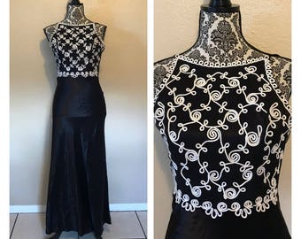 Vintage Prom Dress | Vintage Black and White Prom Dress | 90s Prom Dres | Jessica McClintock Dress