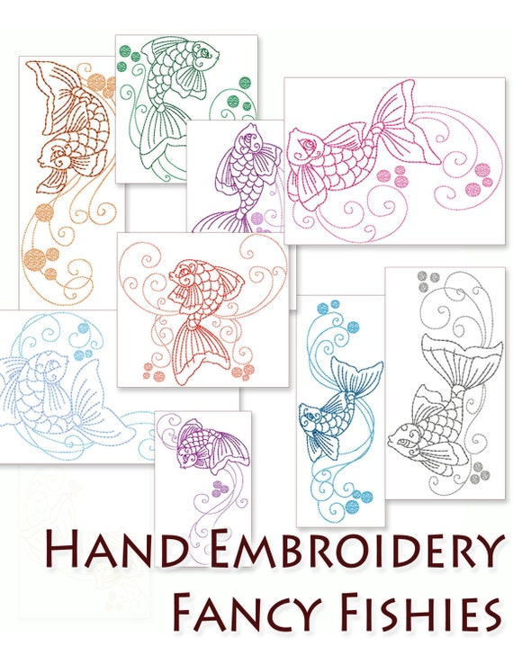 Sale Hand Embroidery Patterns Fancy Fishies In 4 Sizes Pdf Instant