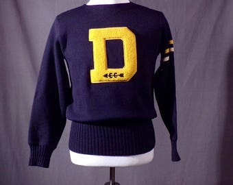 Vintage 1950s Sweater - Letter Sweater - Detroit High School Sweater -Wool - Detroit Knitting Mill - Denby Highschool - Cross Country