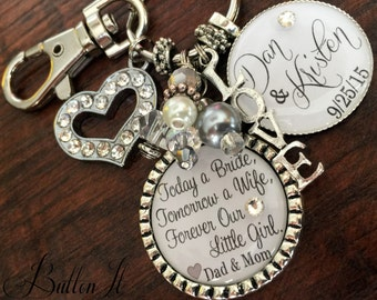 Wedding gift for BRIDE from MOM, bridal bouquet charm, wedding bouquet charm, Today a Bride, Tomorrow a wife Forever, daughter wedding gift