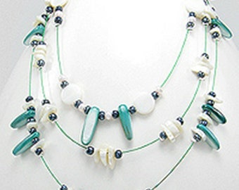 3-Strand Layered Mother of Pearl Multi-Strand Necklace Choice Color Green or Brown