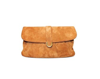 1970s Tan Suede Leather Clutch Bag