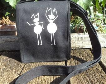 Black canvas shoulder bag - small