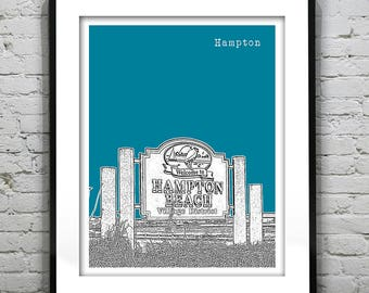Hampton Beach New Hampshire Poster Print Art Skyline NH Item S50002