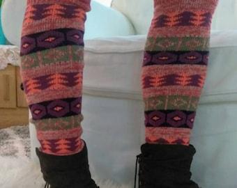 Bright Aztec Leg warmers/Geometric leg warmers