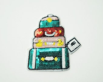 Pink Green Luggage Suitcase Sequin Iron on Patch, Embroidered Sew-on Patch, DIY Appliques