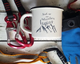 Campfire Mug Enamel Mug Inspirational Coffee Cup Custom Text Mug Personalized Engraved Mug Custom Cup: And So The Adventure Begins