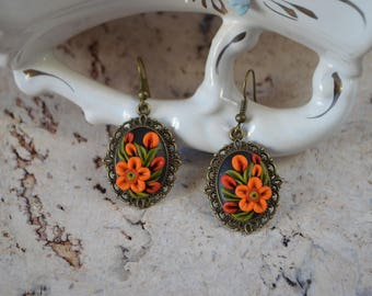 Summer earrings Gift idea Earrings handmade Orange and green Flower earrings Holiday Gift mom Boho jewelry Birthday jewelry Girls jewelry