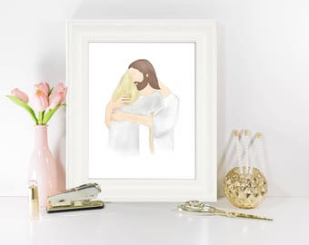 Christ, Condolence Gift, Loss of Mother, Loss of Loved One, Funeral Art, Funeral Gift, Gift for Grieving, Christian Art, LDS Art, Embrace
