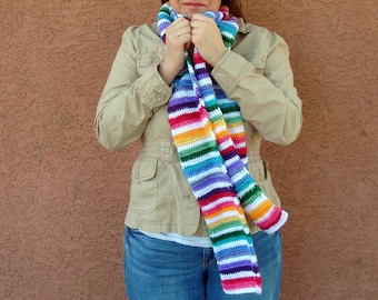 Bright Stripes Scarf for Women, Rainbow Striped, Crochet, Crocheted Scarf, Winter, Autumn Fashion Scarves - scarf for Gay Best Friend Gift