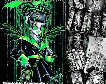 Gothic Coloring Pages For Adults : Set printable coloring book pages myka jelina art