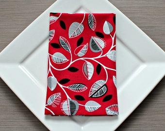 Cloth Dinner Napkins, Cotton Napkins, Everyday Napkins,  Set of 4, Red and Black, Eco-Friendly, Reusable