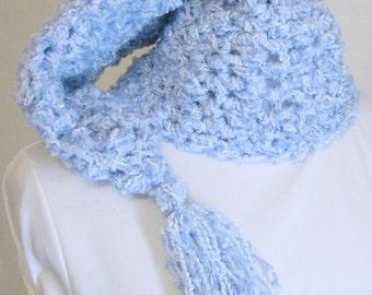 Chunky Crochet Stocking Hat - Handmade Fairy Kei Pastel Baby Blue Hat