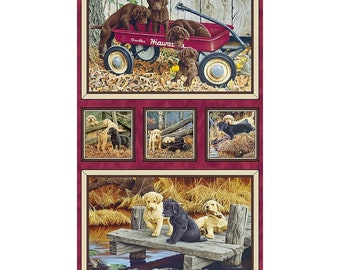 Labrador-Able~ Cute Puppy Panel 23 in x 44in Cotton Fabric By Quilting Treasures